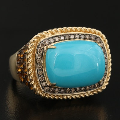 14K Turquoise, Citrine and Diamond Ring