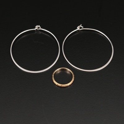 Antique 10K Baby Ring with 14K Hoop Earrings