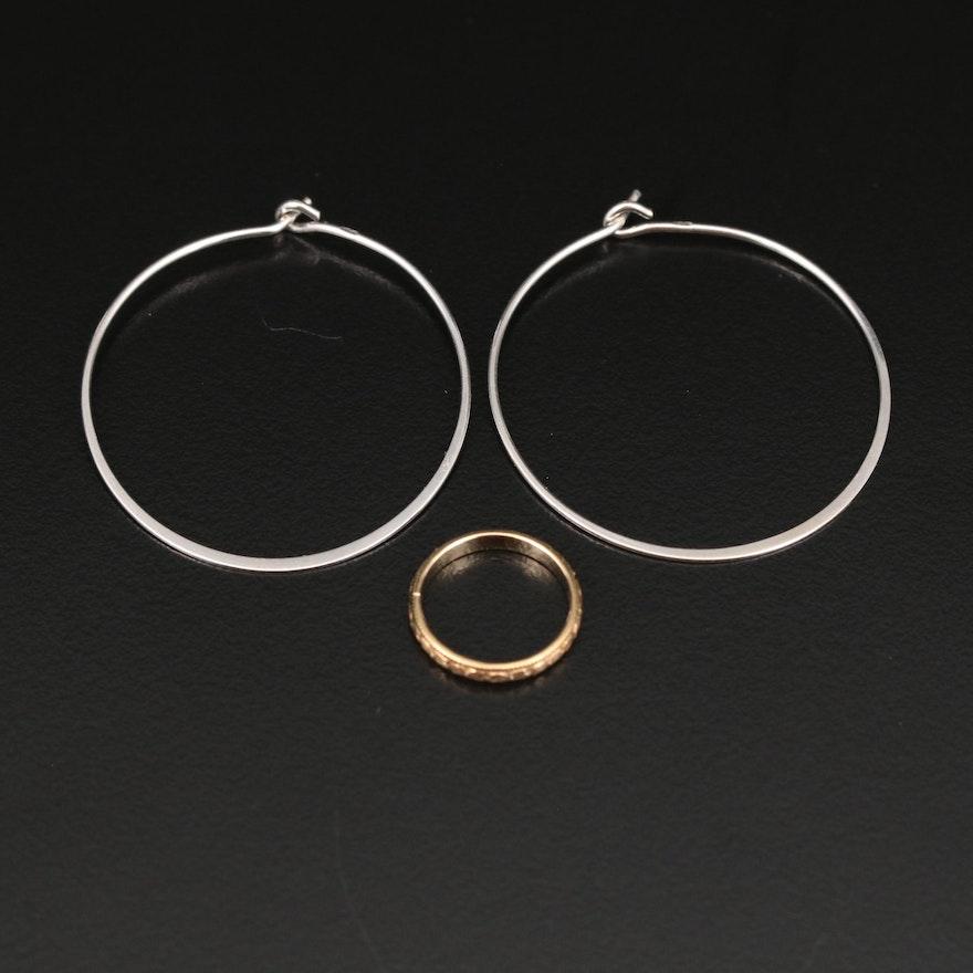 Antique 10K Baby Ring with 14K Hoop Earrings