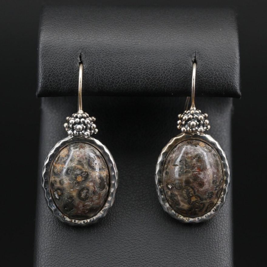 Michael Dawkins Sterling Silver Jasper Oval Earrings
