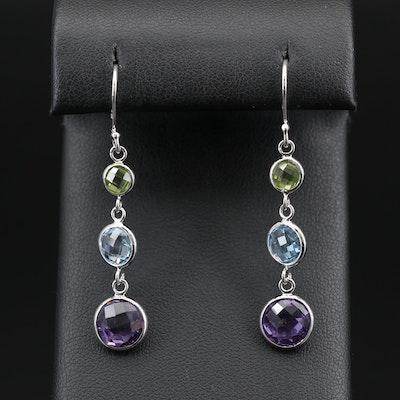 Sterling Silver Amethyst, Topaz and Peridot Dangle Earrings