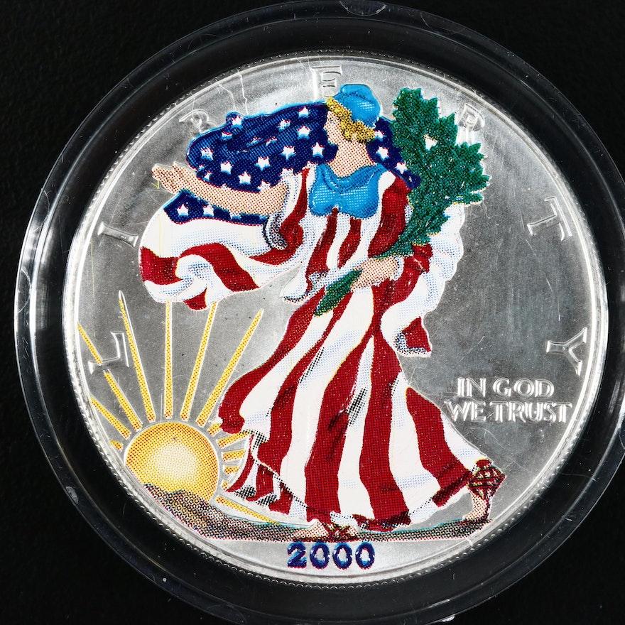 Colorized 2000 American Silver Eagle One Dollar Bullion Coin