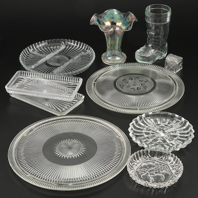 Iridescent Glass Vase and Other Table Accessories, Mid-20th Century