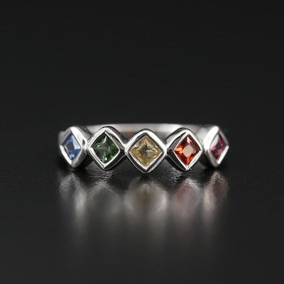 Sterling Silver Multi-Color Sapphire Ring