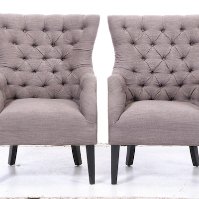 Contemporary Button-Tufted Upholstered Armchairs