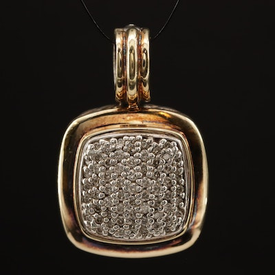 "David Yurman ""Albion"" Sterling Diamond Enhancer Pendant with 18K Accents"