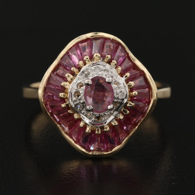 14K Ruby and Diamond Ballerina Ring