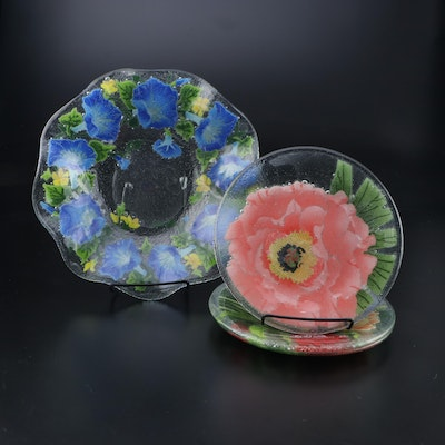 Peggy Karr Handcrafted Floral Fused Glass Plates and Bowl, Late 20th Century