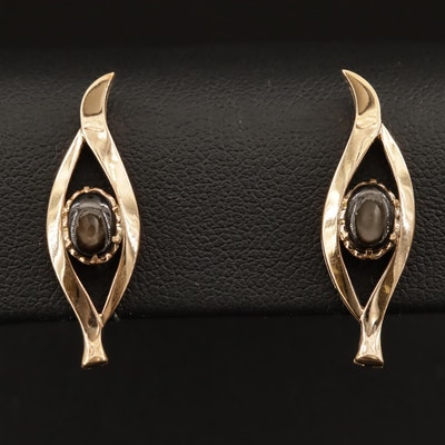 Vintage 14K Black Star Sapphire Screw Back Earrings