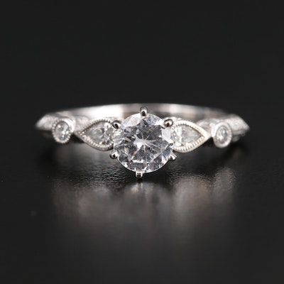 18K Diamond Semi-Mount with Cubic Zirconia Center