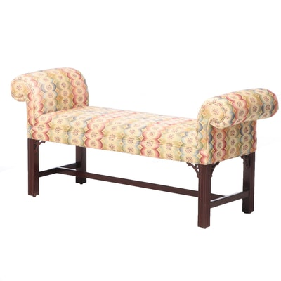 Chippendale Style Mahogany-Stained Window Bench
