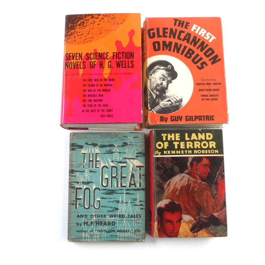 Science Fiction Books Including H. G. Wells and Kenneth Robeson