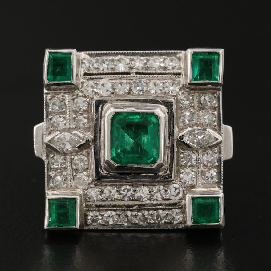1930s Platinum Emerald and Diamond Ring