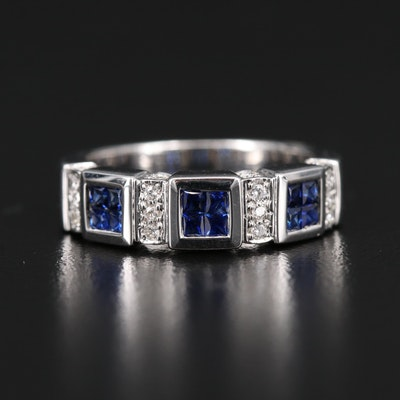 18K Sapphire and Diamond Band