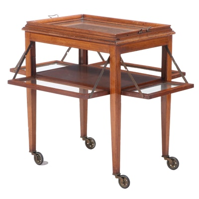 Federal Style Mahogany, Marquetry, & Glass Tray-Top Serving Cart, 20th Century