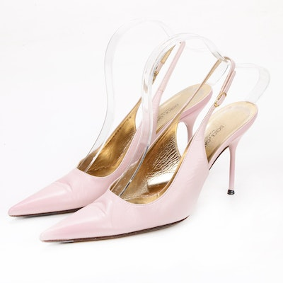 Dolce & Gabbana Pointy Toe High Heel Slingbacks in Pink Leather