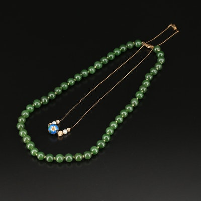 "14K Pearl, Nephrite and Enamel Necklaces Featuring ""Add a Bead"""