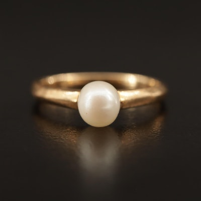 14K Pearl Solitaire Ring
