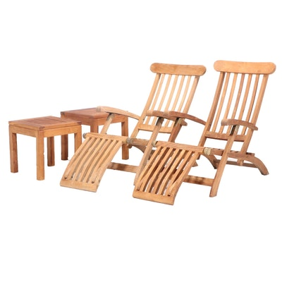 Teak Patio Loungers with Side Tables, Pair