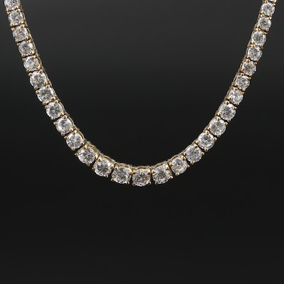 Sterling Silver Graduated Cubic Zirconia Strand Necklace