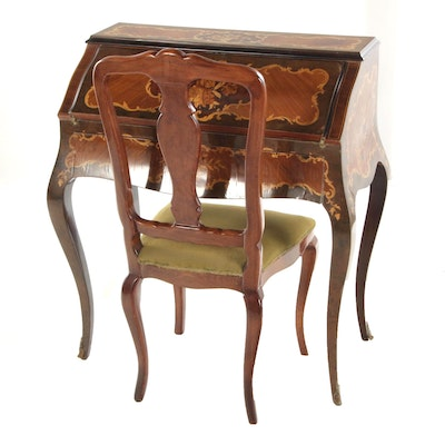 Louis XV Style Marquetry Ladies Drop Front Bureau, Early 20th Century