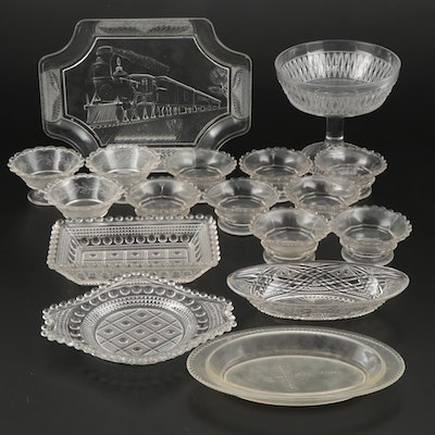 "Canton Glass ""Train with Engine"" Platter and Other Patterned Glass Serveware"