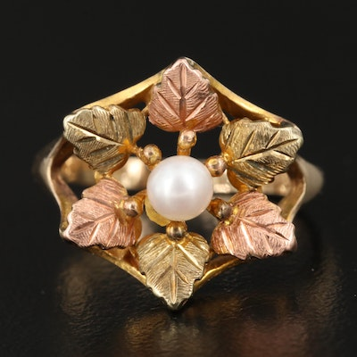 10K Cultured Pearl Leaf Ring with Rose and Green Gold Accents