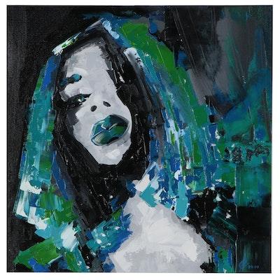 Alyona Glushchenko Abstract Portrait Oil Painting, 2020
