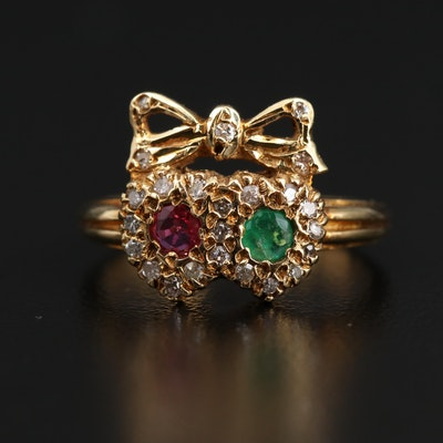 Vintage Ruby, Emerald and Diamond Ring