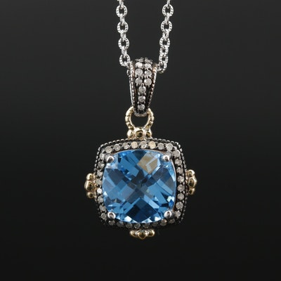 Sterling Silver Topaz and Diamond Pendant Necklace with 10K Gold Accents