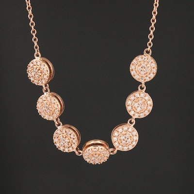 14K Rose Gold Pavé Diamond Necklace