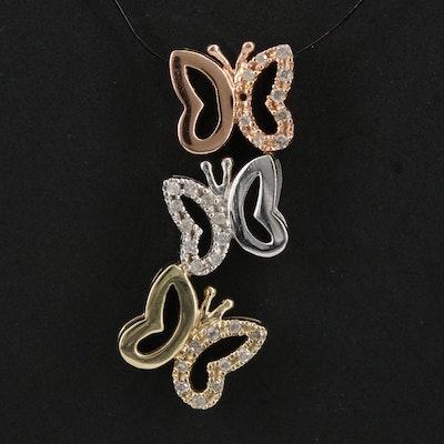 10K Tri Color Gold Diamond Butterfly Pendant
