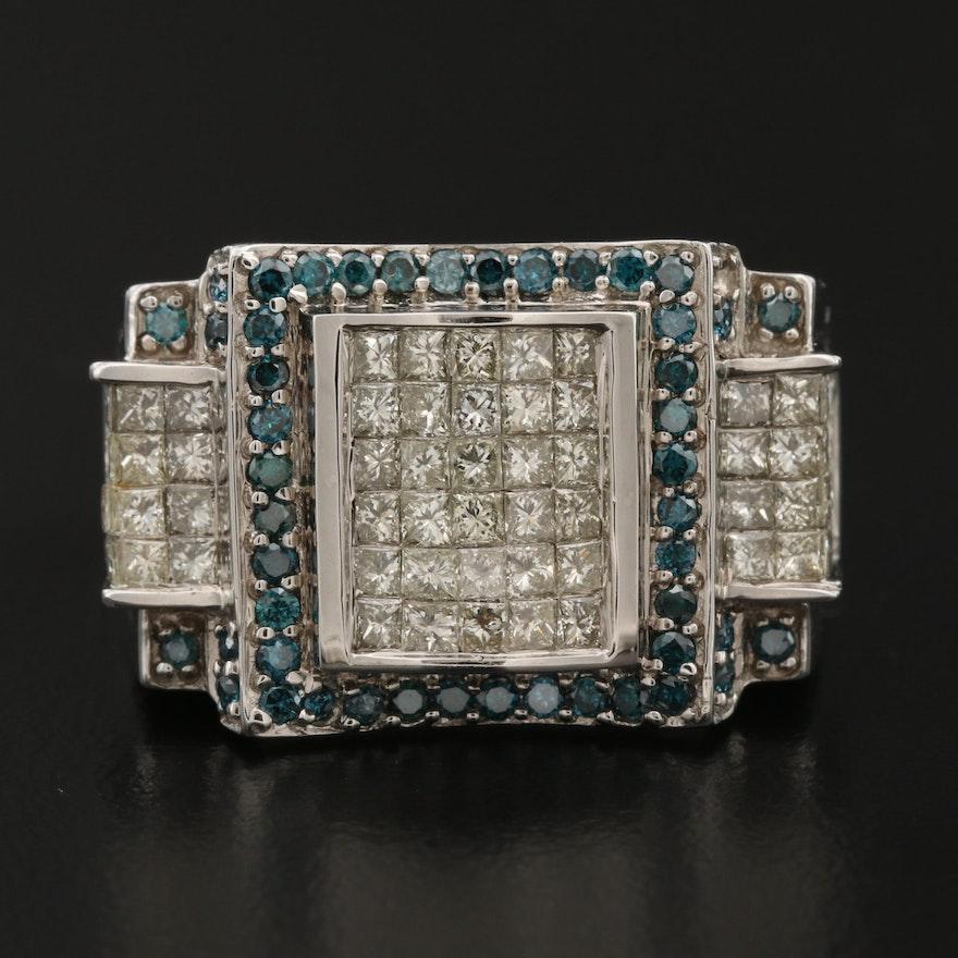 14K  2.80 CTW Diamond Ring with Blue Diamond Accents
