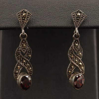 Sterling Garnet and Marcasite Drop Earrings