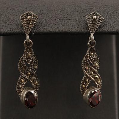 Sterling Garnet and Marcasite Drop Earrings