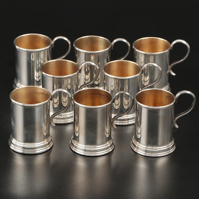 Lunt Sterling Silver Mini Tankard Shot Glasses with Gold Wash Interiors