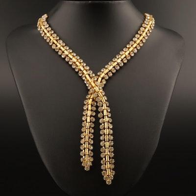 Lariat Style Rhinestone Necklace