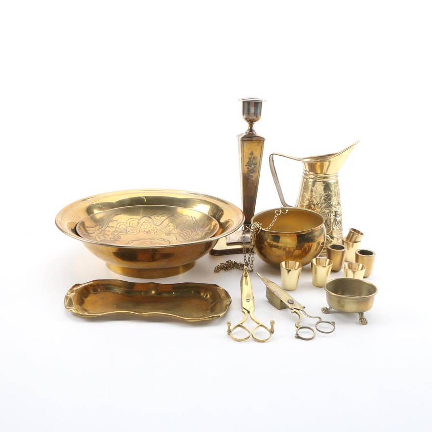 Brass Bowls, Pitcher, Wick Trimmers, and Other Brass Décor