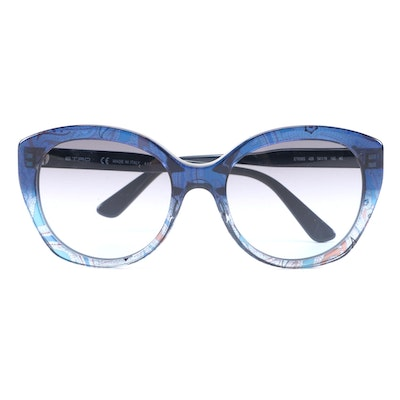 ETRO ET658S Blue Paisley Modified Cat Eye Sunglasses with Case and Box