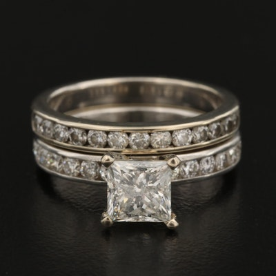 Platinum 1.72 CTW Diamond Ring and 14K Diamond Band