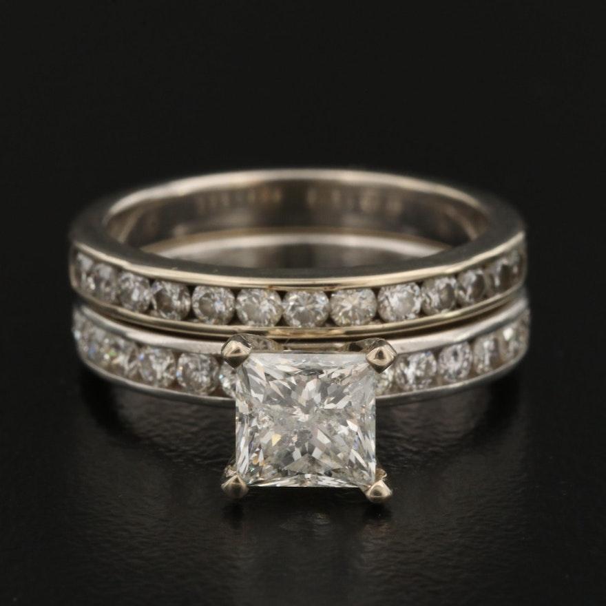 Platinum 1.72 CTW Diamond Ring and 14K Diamond Band