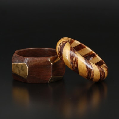Wooden Carved and Accented Bangles