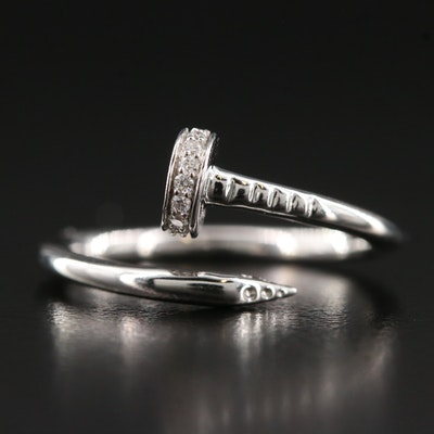 14K Diamond Nail Motif Open Shank Ring