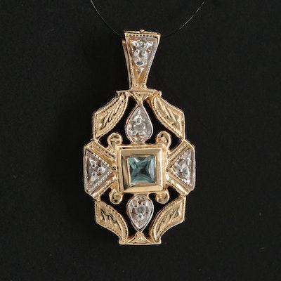 14K Chrysoberyl and Diamond Openwork Pendant