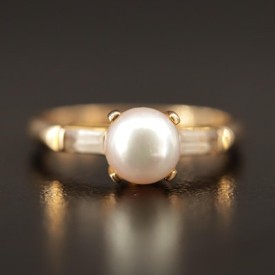 Vintage 10K Pearl and White Spinel Ring