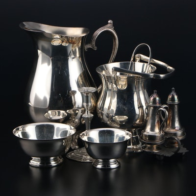 Gorham and Other Silver Plate and Pewter Table Accessories