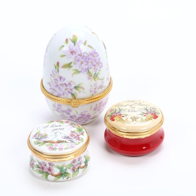 """Halcyon Days Enamels"" Hand Painted Trinket Boxes with Trinket Box Egg"