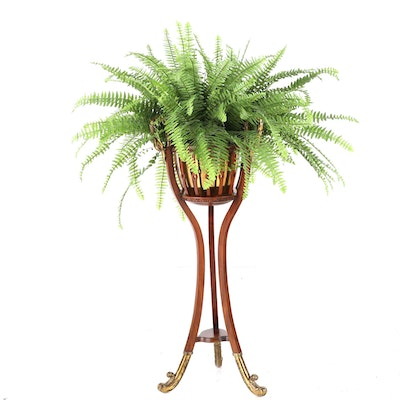 Stained Wood and Brass Plant Stand with Potted Faux Fern