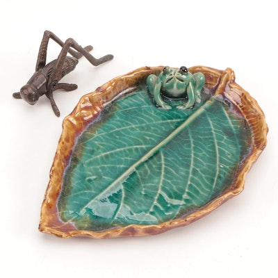Art Pottery Leaf Dish and Bronze Grasshopper Figurine, Mid to Late 20th Century