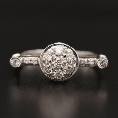 18K Diamond Circular Ring